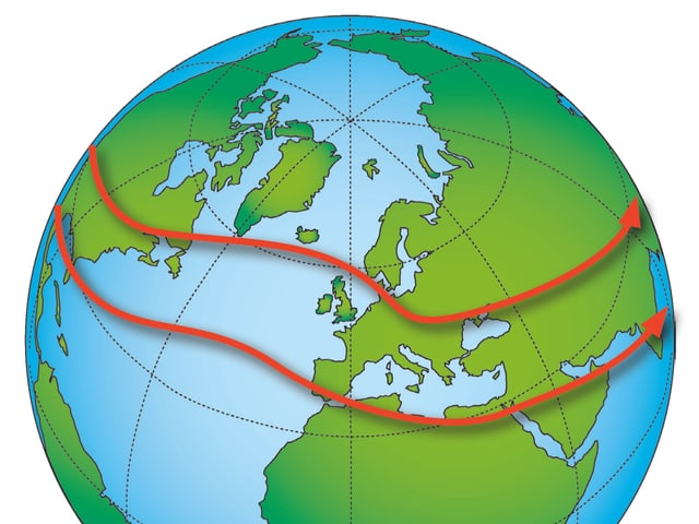 Globus mit zwei roten Pfeilen, den Jetstreams.