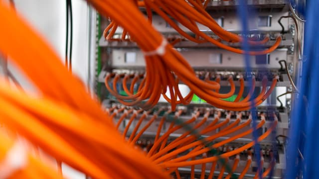 Eine grosse Speicherplatte mit Netztwerkkabeln.