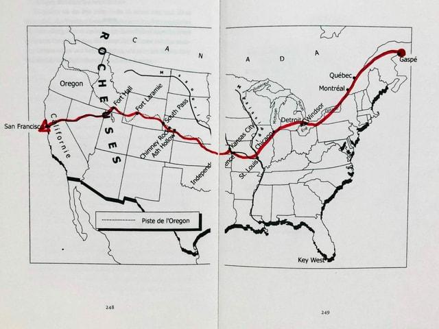 Grafik mit Reiseroute von Jack und der Grossen Heuschrecke, den beiden Protagonist*innen aus «Volkswagen Blues» von Jacques Poulin