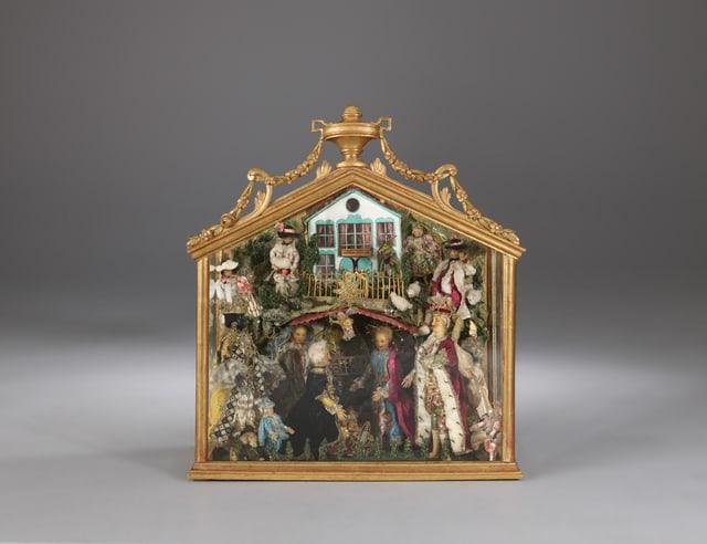 Stalla da Nadal da chascha cun figuras da tschaira, fabritgada en la claustra da mungias Hermetschwil en il 18avel tschientaner