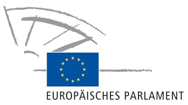 Das Logo des Europäischen Parlaments mit der EU-Flagge.