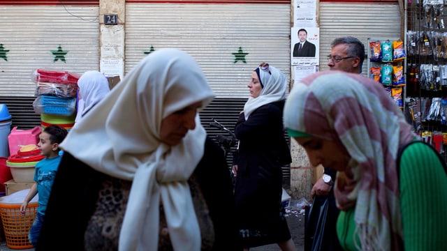 Frauen auf einem Markt in Damaskus.