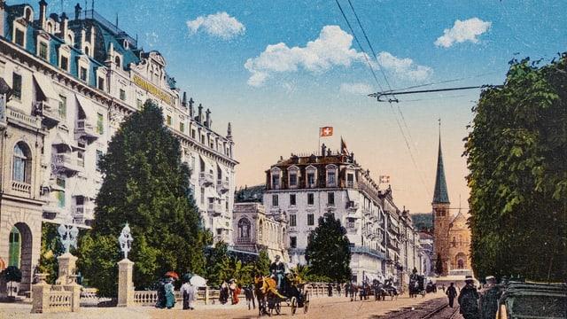 Das Hotel Schweizerhof in Luzern auf einer historischen Postkarte.