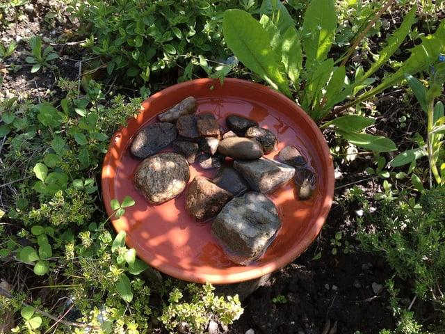 Eine Tonschale mit Steinen drin.