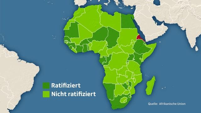 Karte Afrikas: Länder, die das Freihandelsabkommen ratifiziert haben, sind dunkelgrün eingefärbt, Länder, die das Abkommen nicht ratifiziert haben, sind hellgrün eingefärbt.