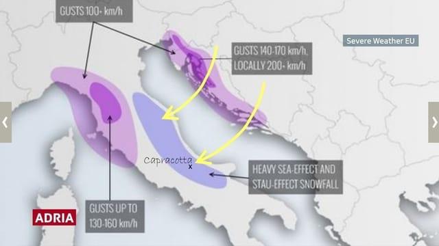 Auf einer Karte von Italien und der Adria sind einerseits starke Winde aus Nordosten eingezeichnet. Andererseits im Osten des Apennins die Abruzzen und Capracotta.