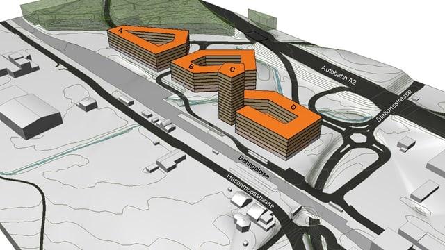 Ein gezeichneter Plan, in der Mitte sind vier Gebäude orange eingefärbt.