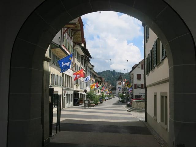 Blick vom Obertor ins Stadtzentrum von Willisau