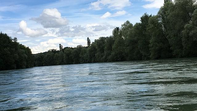 Die Reuss führte schon am Samstag oberhalb von Ottenbach (ZH) Hochwasser.