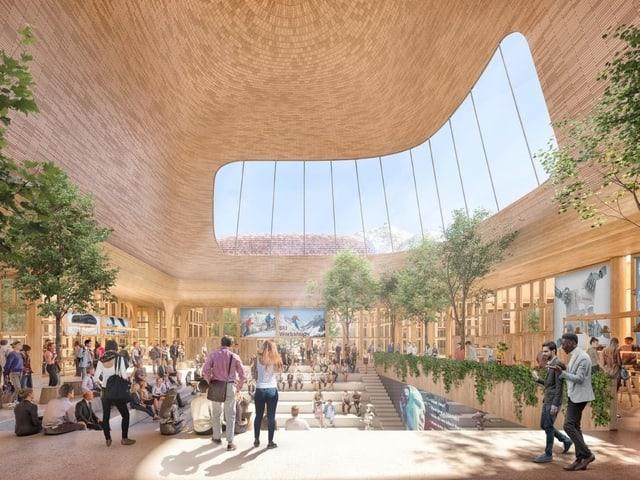 Visualisierung des Innovations- und Begegnungszentrum von Mia Engiadina.