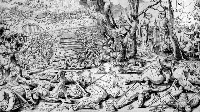 Eine Schwarz-Weiss-Zeichnung vom Schlachtfeld.