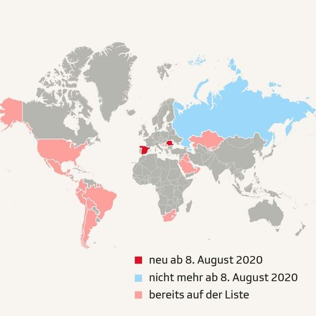 Karte mit den Risikoländern