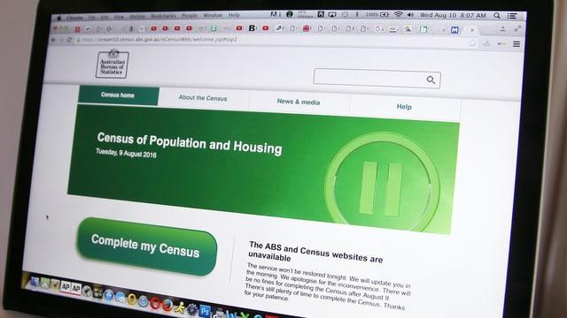 Bildschirm mit der gesperrten Internetseite des Statistischen Amts von Australien.