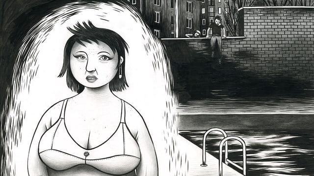 Schwarz-weiss Comic mit einer Braut im Vordergrund, im Hintergrund steigt ein Mann über eine dunkle Mauer.