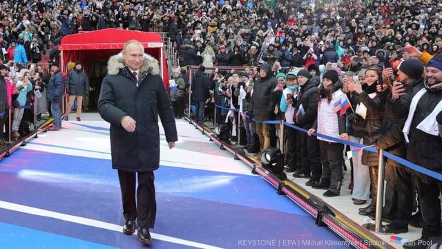 So gut wie gewählt: Wladimir Putin bei einer Wahlkampfveranstaltung am 3. März 2018 im Luzhniki-Stadion in Moskau