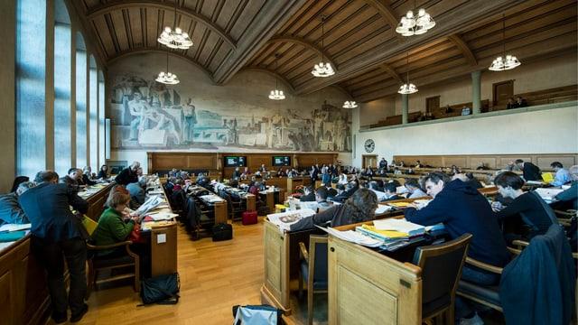Blick in den Ratssaal des Grossen Rates.