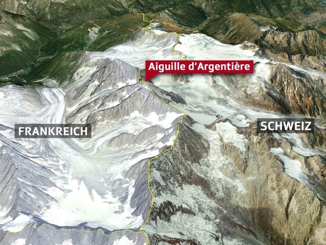 Aiguille d'Argentière  mit Grenzzeichnung