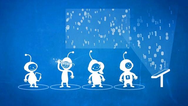 Animation, blau-weiss, Kinder mit Helmen. Raumfahreranzügen, ein Tablet und eine Wolke aus Zahlen