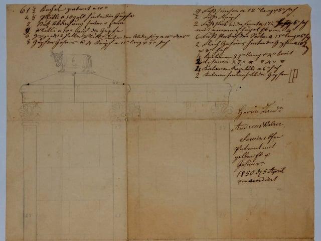 Dokumente mit Zeichnung und schriftlichen Ergänzungen.