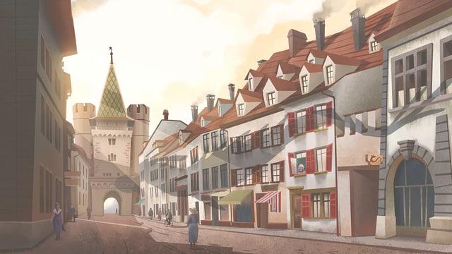 Eine Zeichnung der Basler Spalenvorstadt.