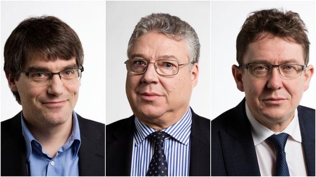 Roger Nordmann (SP, links), Filippo Lombardi (Mitte, CVP) und Albert Rösti (SVP, rechts).