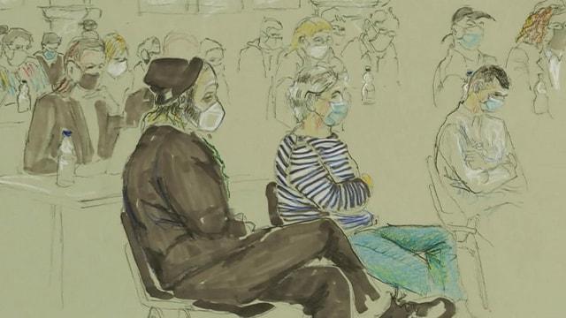 Zeichnung der Angeklagten.