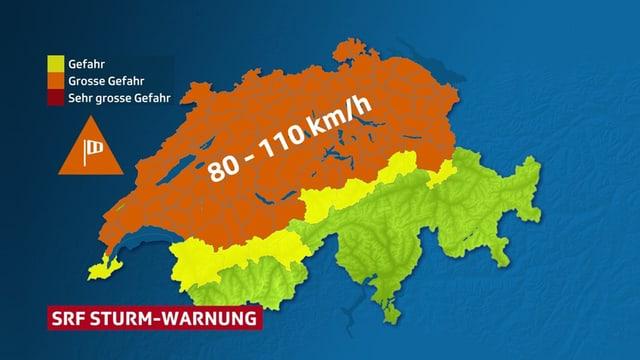 Die SRF-Sturmwarnungs-Karte  mit einem grossflächig orange eingefärbtem Bereich