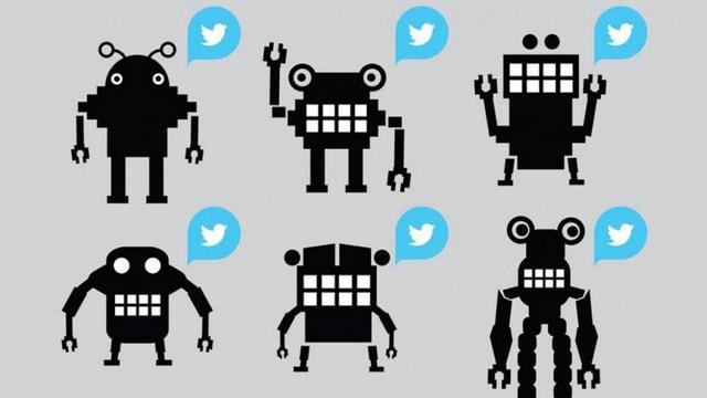 Sechs Twitter-Bots als Comicfiguren.