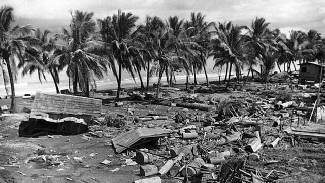 zerstörtes Küstengebiet