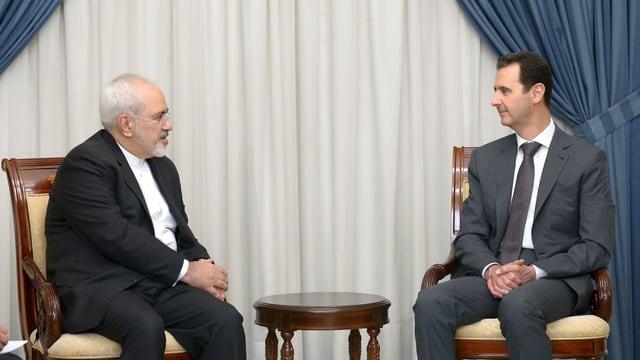 Syriens Präsident Assad mit Irans Aussenminister Mohammad Javad Zarif in Damaskus