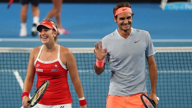 Belinda Bencic und Roger Federer.