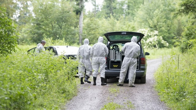 verschiedene Spurensuch-Beamte vor einem Waldstück