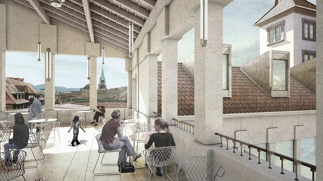 Visualisierung gedeckte Terrasse mit offenen Seiten
