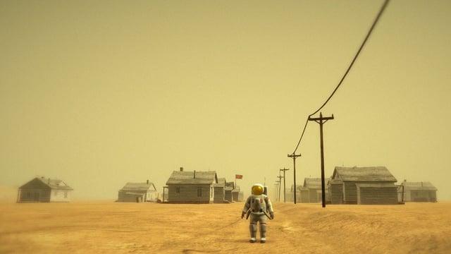 Der Astronaut steht vor einer verlassenen Siedlung mit verlotterten Holzhäusern.