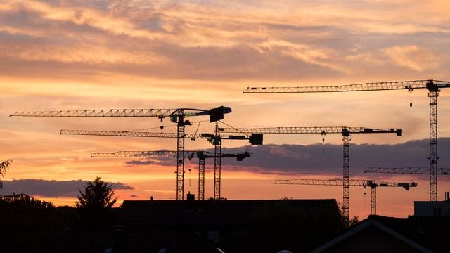 Fünf Baukräne über Dächern vorn Wohnhäusern vor dramatischem Abendhimmel