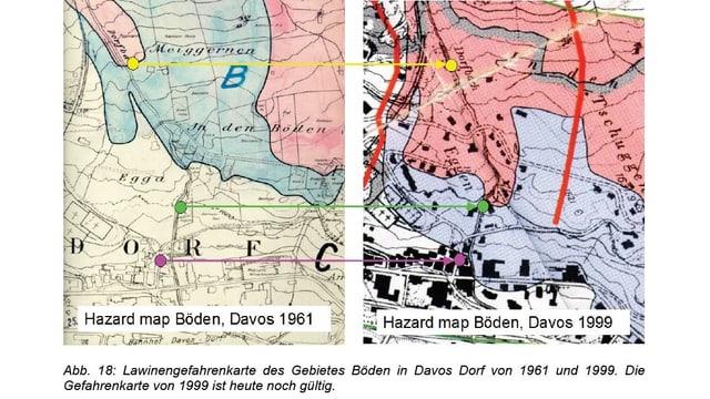 Zwei Gefahrenkarten mit roten und blauen Zonen im historischen Vergleich.