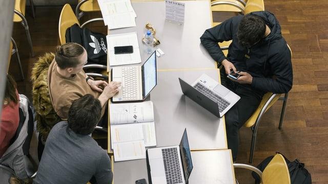 Students vi da lavurar cun lur laptops.