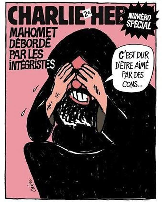 Auf rosa Grund ist der Prophet Mohammed zu sehen, der sagt, dass es hart sei, von Idioten geliebt zu werden.