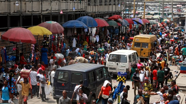Strassenzug in Lagos/Nigeria (27.03.2020).