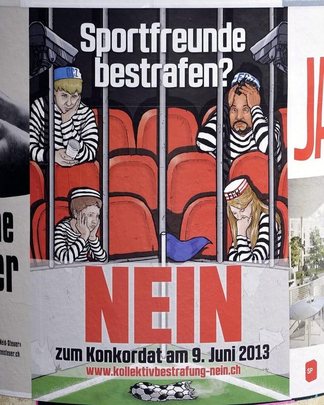 Plakat des Anti-Hooligan-Konkordats.