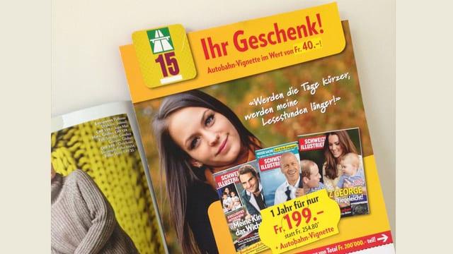 Werbe-Einlage in der Schweizer Illustrierten.