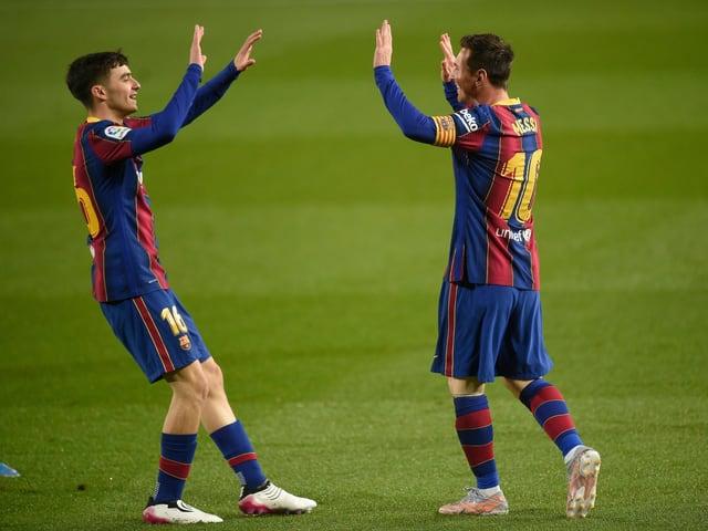 Lionel Messi und Pedri.