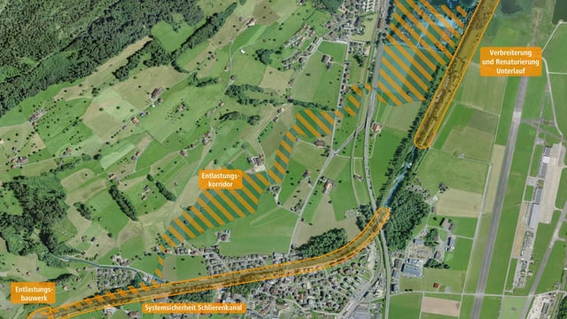 Übersichtskarte über die geplanten Massnahmen gegen Hochwasser in Alpnach.