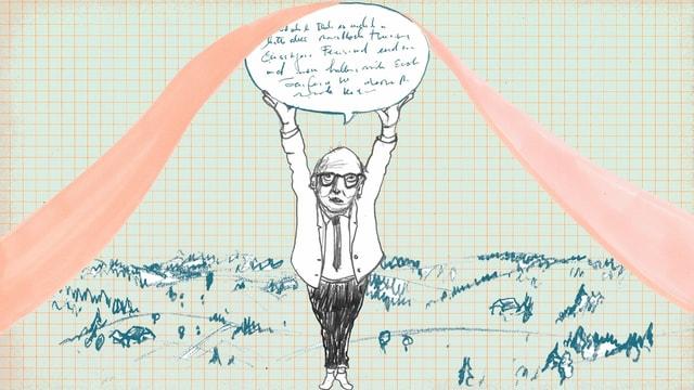 Zeichnung: Dürrenmatt streckt sich und hält eine Sprechblase nach oben