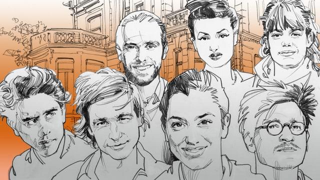 Eine Illustration mit den Porträts sieben junger Autoren.