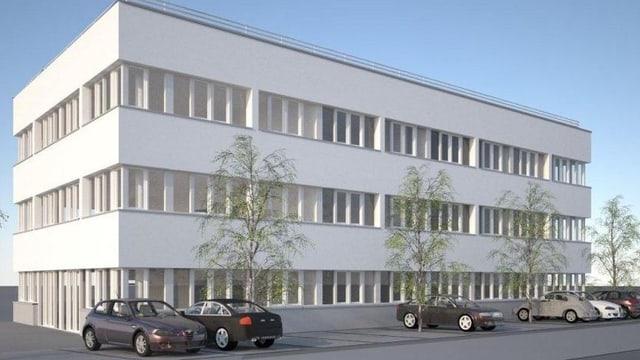 Eine Visualisierung des Gebäudes mit vielen hohen Fenstern und einem Flachdach.