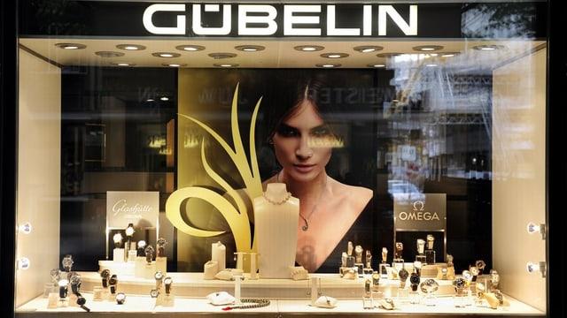 Ein Schaufenster des Uhrenhändlers Gübelin.