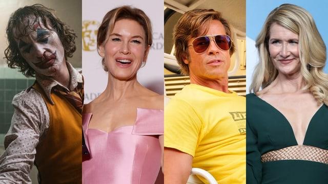 Diese vier dürfen ihre Dankesreden bereits vorbereiten: Joaquin Phoenix, Renée Zellweger, Brad Pitt und Laura Dern.
