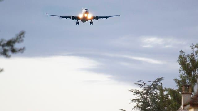 Flugzeug im Landeanflug.