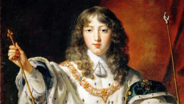 Louis XIV als Kind. Er trägt sein königliches Gewand.